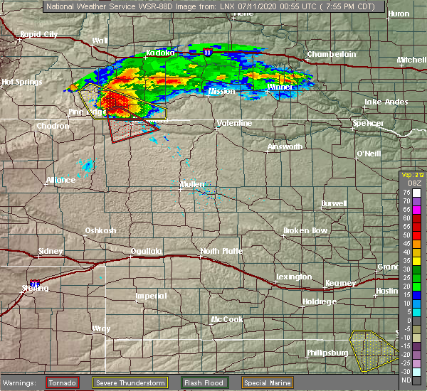 Radar Image for Severe Thunderstorms near Gordon, NE at 7/10/2020 6:59 PM MDT