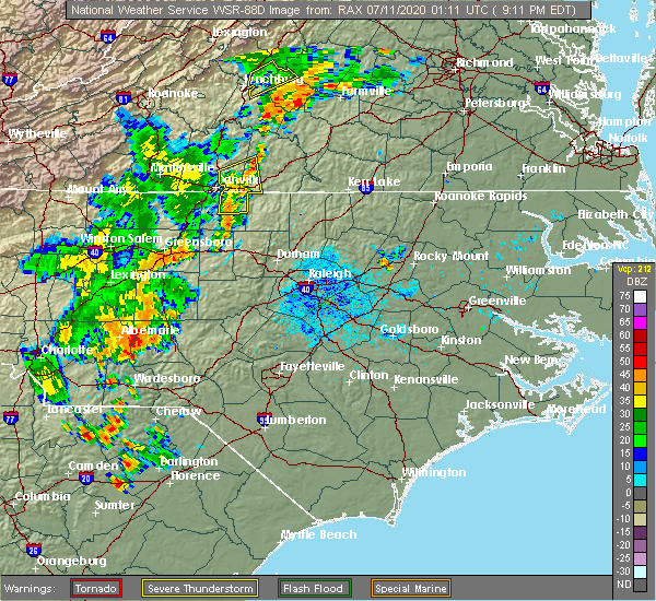 Radar Image for Severe Thunderstorms near Troy, NC at 7/10/2020 9:19 PM EDT