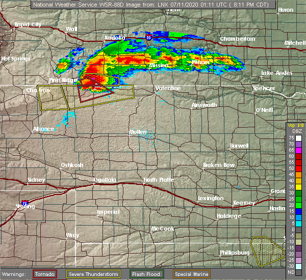 Radar Image for Severe Thunderstorms near Martin, SD at 7/10/2020 7:22 PM MDT