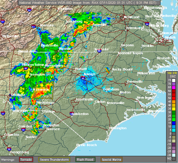 Radar Image for Severe Thunderstorms near Troy, NC at 7/10/2020 9:39 PM EDT