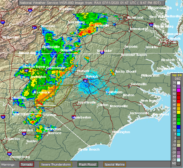 Radar Image for Severe Thunderstorms near Pinehurst, NC at 7/10/2020 9:51 PM EDT