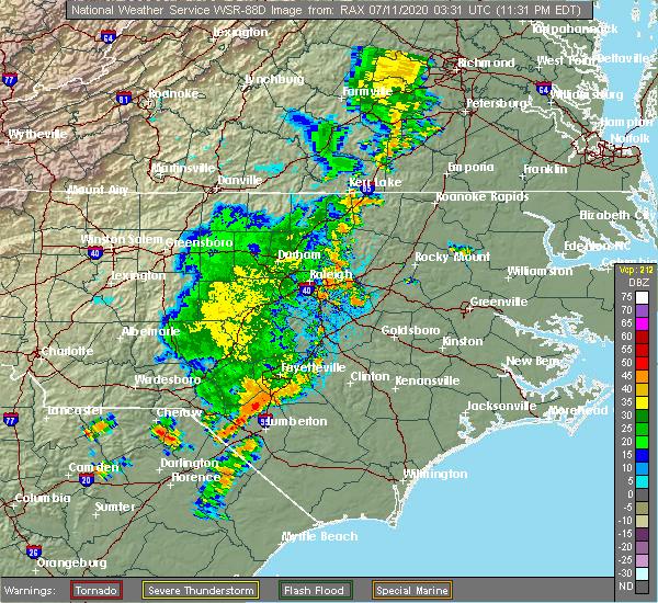Radar Image for Severe Thunderstorms near Zebulon, NC at 7/10/2020 11:46 PM EDT