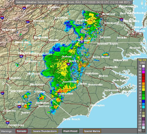 Radar Image for Severe Thunderstorms near Zebulon, NC at 7/11/2020 12:21 AM EDT