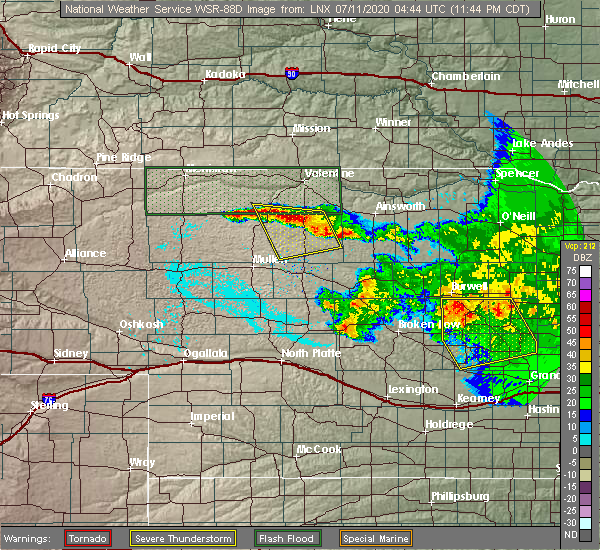 Radar Image for Severe Thunderstorms near Brownlee, NE at 7/10/2020 11:52 PM CDT