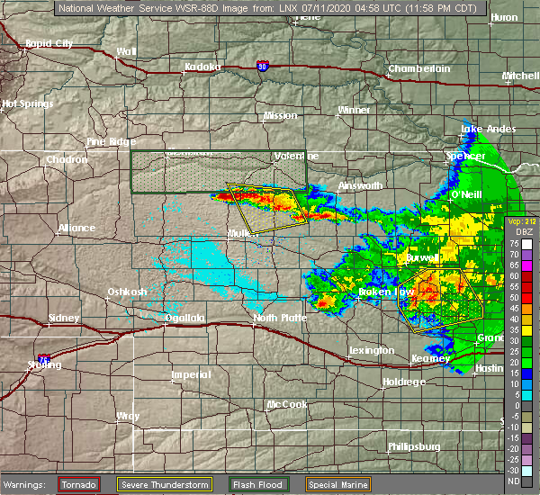 Radar Image for Severe Thunderstorms near Brownlee, NE at 7/10/2020 11:05 PM MDT