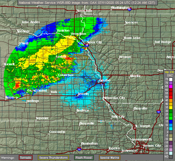 Radar Image for Severe Thunderstorms near Scribner, NE at 7/11/2020 12:27 AM CDT