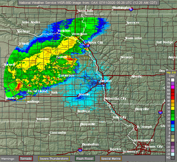 Radar Image for Severe Thunderstorms near Rosalie, NE at 7/11/2020 12:34 AM CDT