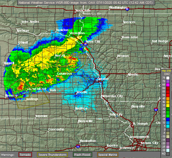 Radar Image for Severe Thunderstorms near Winside, NE at 7/11/2020 12:44 AM CDT