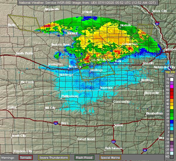 Radar Image for Severe Thunderstorms near Wood River, NE at 7/11/2020 12:55 AM CDT