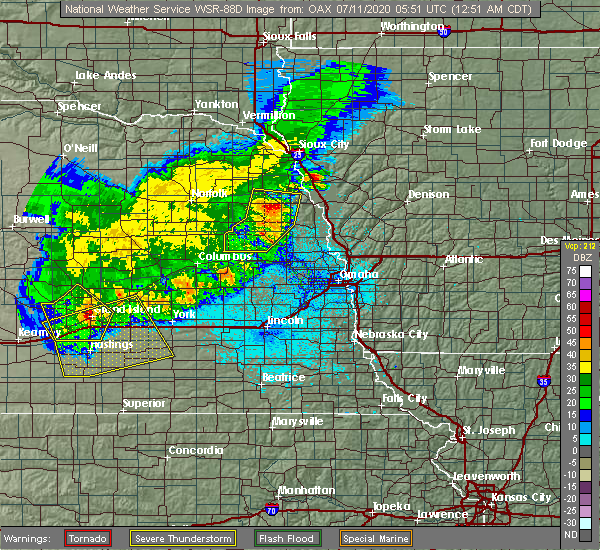 Radar Image for Severe Thunderstorms near Washington, NE at 7/11/2020 12:56 AM CDT