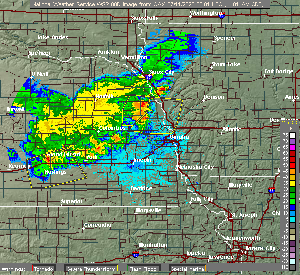 Radar Image for Severe Thunderstorms near Scribner, NE at 7/11/2020 1:02 AM CDT