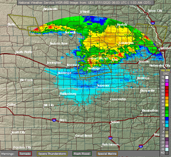 Radar Image for Severe Thunderstorms near Bradshaw, NE at 7/11/2020 1:06 AM CDT