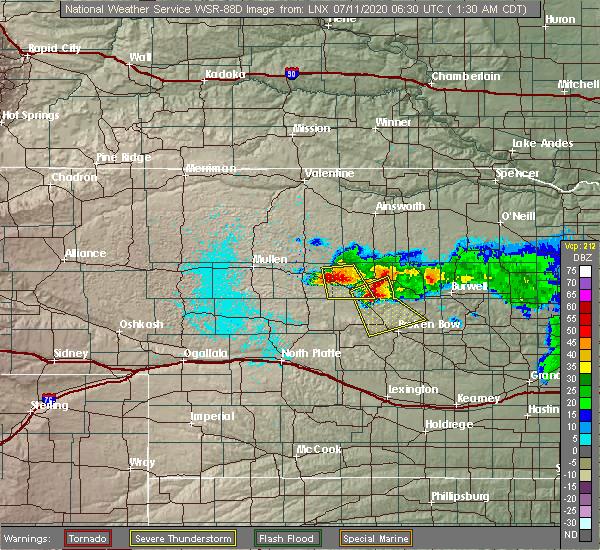 Radar Image for Severe Thunderstorms near Anselmo, NE at 7/11/2020 1:33 AM CDT