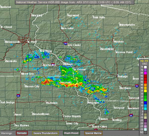 Radar Image for Severe Thunderstorms near Elma, IA at 7/11/2020 8:15 AM CDT