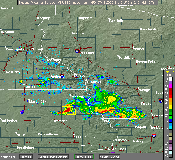 Radar Image for Severe Thunderstorms near Readlyn, IA at 7/11/2020 9:19 AM CDT