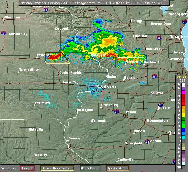 Radar Image for Severe Thunderstorms near Winthrop, IA at 7/11/2020 9:51 AM CDT