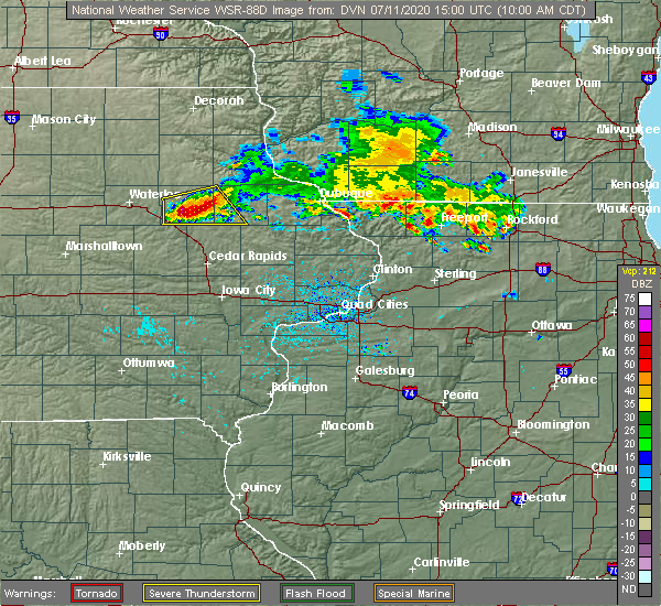 Radar Image for Severe Thunderstorms near Winthrop, IA at 7/11/2020 10:04 AM CDT