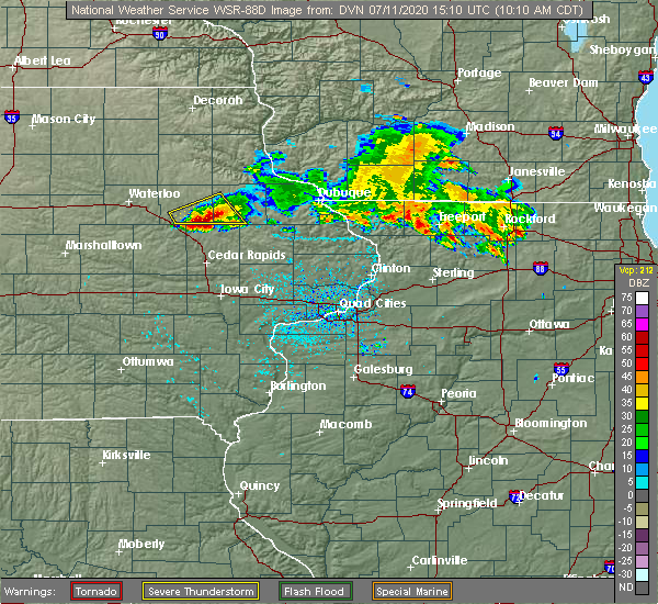 Radar Image for Severe Thunderstorms near Martelle, IA at 7/11/2020 10:14 AM CDT