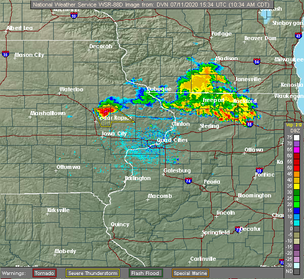 Radar Image for Severe Thunderstorms near Martelle, IA at 7/11/2020 10:37 AM CDT