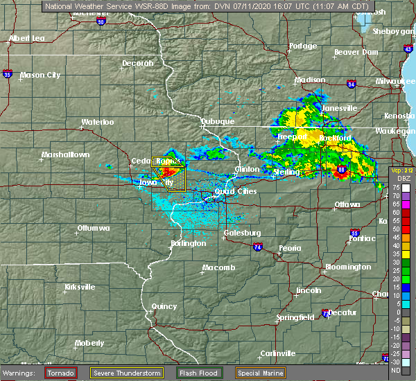 Radar Image for Severe Thunderstorms near Martelle, IA at 7/11/2020 11:10 AM CDT