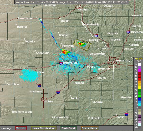Radar Image for Severe Thunderstorms near Wheaton, KS at 7/11/2020 12:48 PM CDT