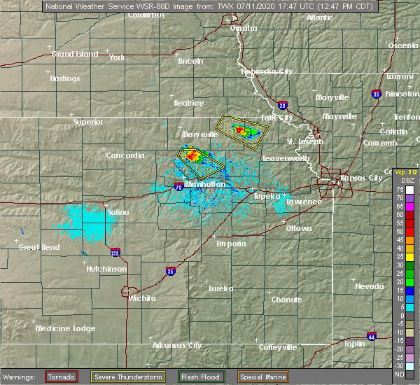 Radar Image for Severe Thunderstorms near Oneida, KS at 7/11/2020 12:51 PM CDT
