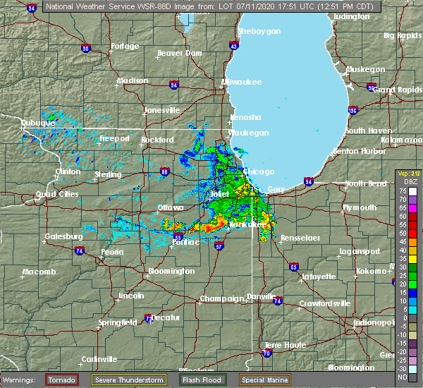Radar Image for Severe Thunderstorms near Iroquois, IL at 7/11/2020 12:57 PM CDT