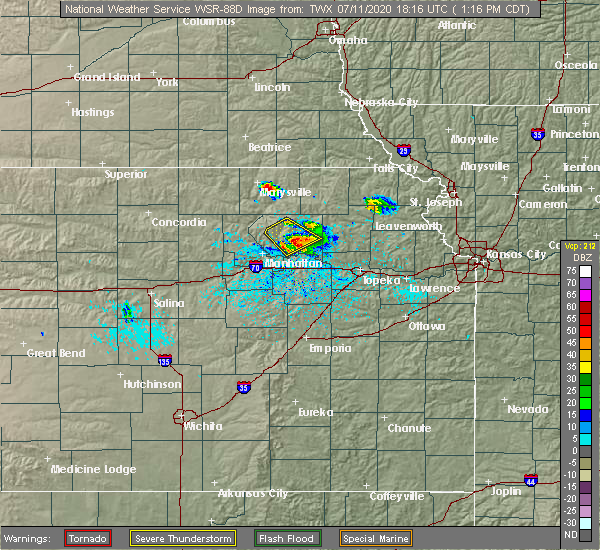 Radar Image for Severe Thunderstorms near Silver Lake, KS at 7/11/2020 1:20 PM CDT