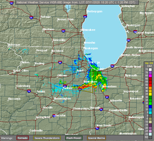 Radar Image for Severe Thunderstorms near Iroquois, IL at 7/11/2020 1:24 PM CDT