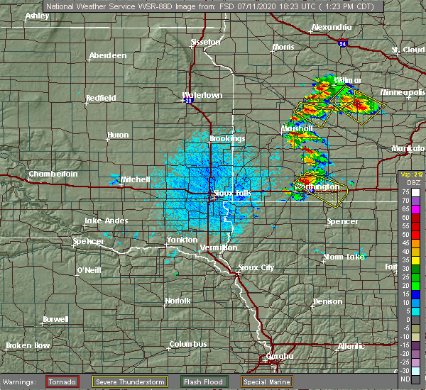 Radar Image for Severe Thunderstorms near Kinbrae, MN at 7/11/2020 1:25 PM CDT