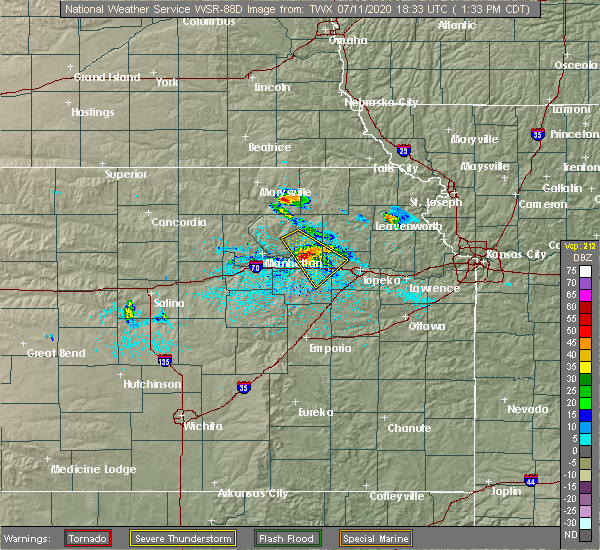 Radar Image for Severe Thunderstorms near Havensville, KS at 7/11/2020 1:40 PM CDT