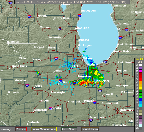 Radar Image for Severe Thunderstorms near Iroquois, IL at 7/11/2020 1:41 PM CDT