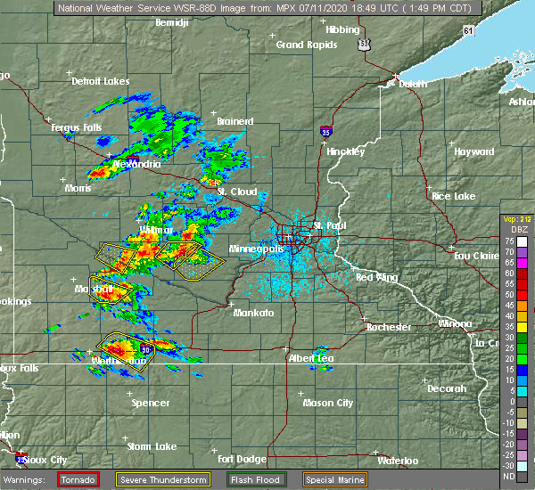 Radar Image for Severe Thunderstorms near Winthrop, MN at 7/11/2020 1:51 PM CDT
