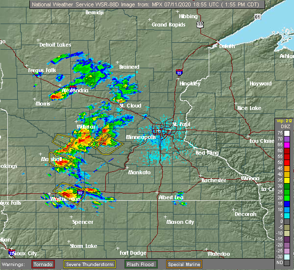 Radar Image for Severe Thunderstorms near Winthrop, MN at 7/11/2020 2:00 PM CDT