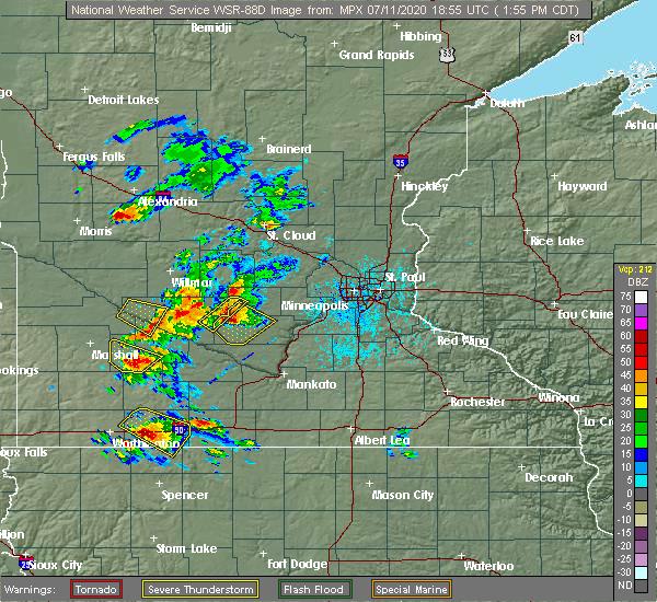 Radar Image for Severe Thunderstorms near Gibbon, MN at 7/11/2020 2:00 PM CDT