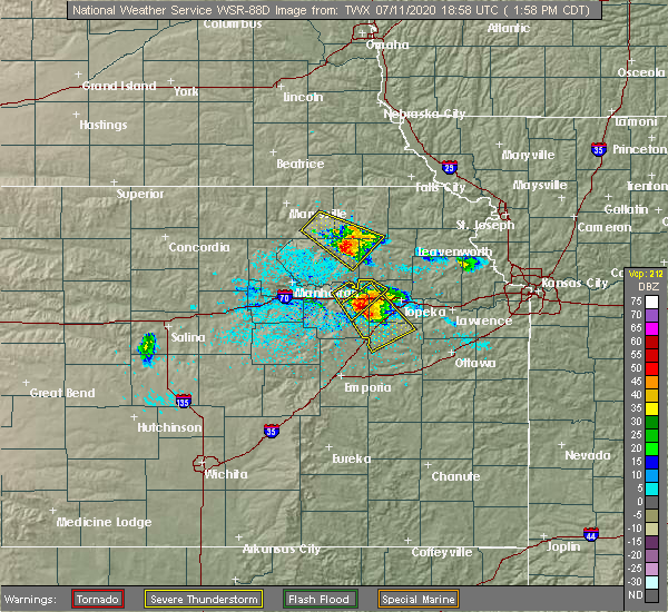 Radar Image for Severe Thunderstorms near Havensville, KS at 7/11/2020 2:02 PM CDT