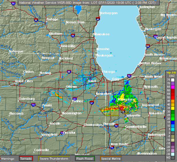 Radar Image for Severe Thunderstorms near Remington, IN at 7/11/2020 3:11 PM EDT