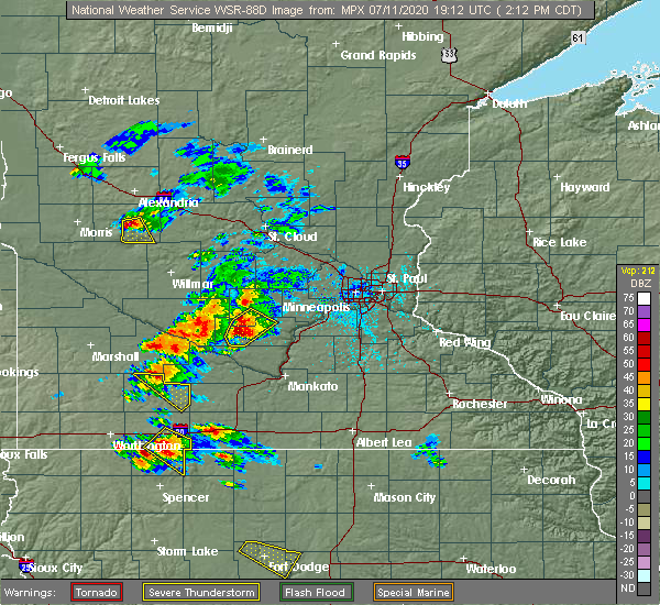 Radar Image for Severe Thunderstorms near Winthrop, MN at 7/11/2020 2:20 PM CDT