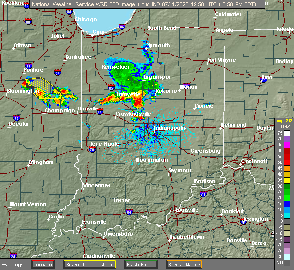 Radar Image for Severe Thunderstorms near Frankfort, IN at 7/11/2020 4:04 PM EDT