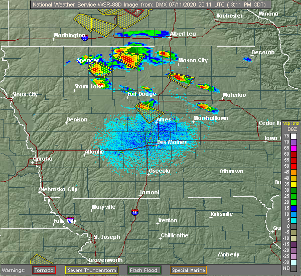 Radar Image for Severe Thunderstorms near Stanhope, IA at 7/11/2020 3:14 PM CDT