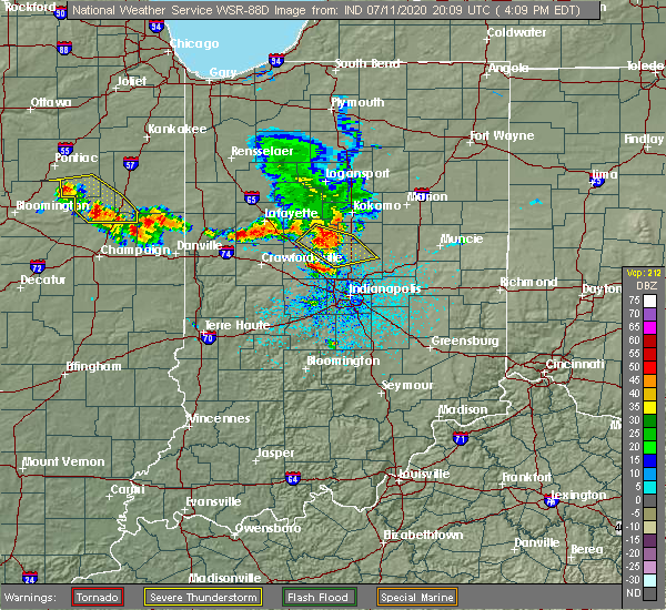 Radar Image for Severe Thunderstorms near Michigantown, IN at 7/11/2020 4:16 PM EDT