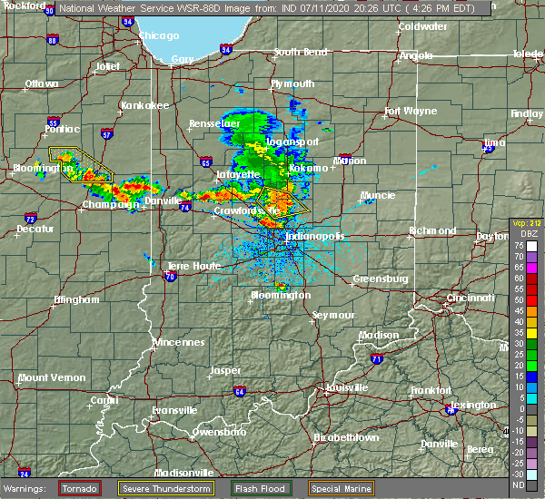 Radar Image for Severe Thunderstorms near Michigantown, IN at 7/11/2020 4:28 PM EDT
