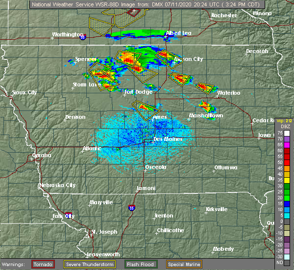 Radar Image for Severe Thunderstorms near Stanhope, IA at 7/11/2020 3:29 PM CDT