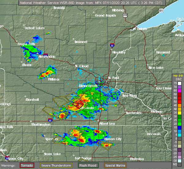 Radar Image for Severe Thunderstorms near Blue Earth, MN at 7/11/2020 3:29 PM CDT