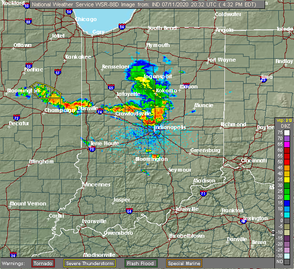 Radar Image for Severe Thunderstorms near Indianapolis, IN at 7/11/2020 4:44 PM EDT