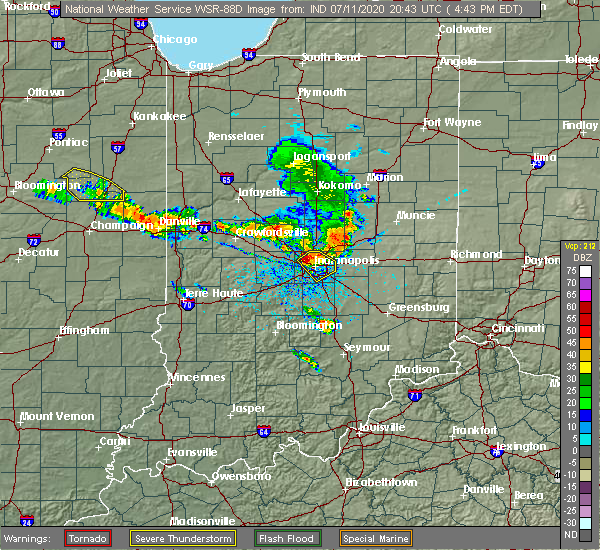 Radar Image for Severe Thunderstorms near Indianapolis, IN at 7/11/2020 4:50 PM EDT