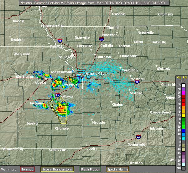 Radar Image for Severe Thunderstorms near Lone Elm, KS at 7/11/2020 3:56 PM CDT