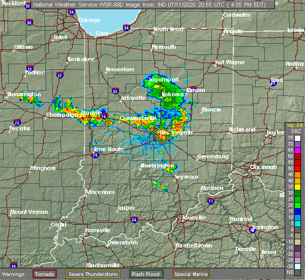 Radar Image for Severe Thunderstorms near Indianapolis, IN at 7/11/2020 5:00 PM EDT