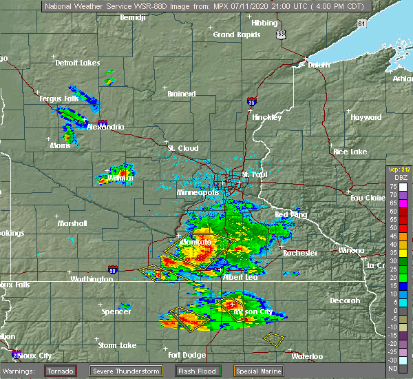 Radar Image for Severe Thunderstorms near Hartland, MN at 7/11/2020 4:04 PM CDT