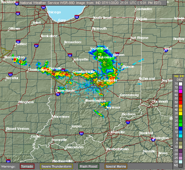 Radar Image for Severe Thunderstorms near Indianapolis, IN at 7/11/2020 5:09 PM EDT